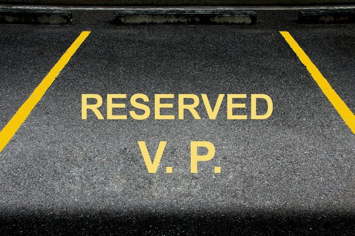 reserved parking place for company vice president