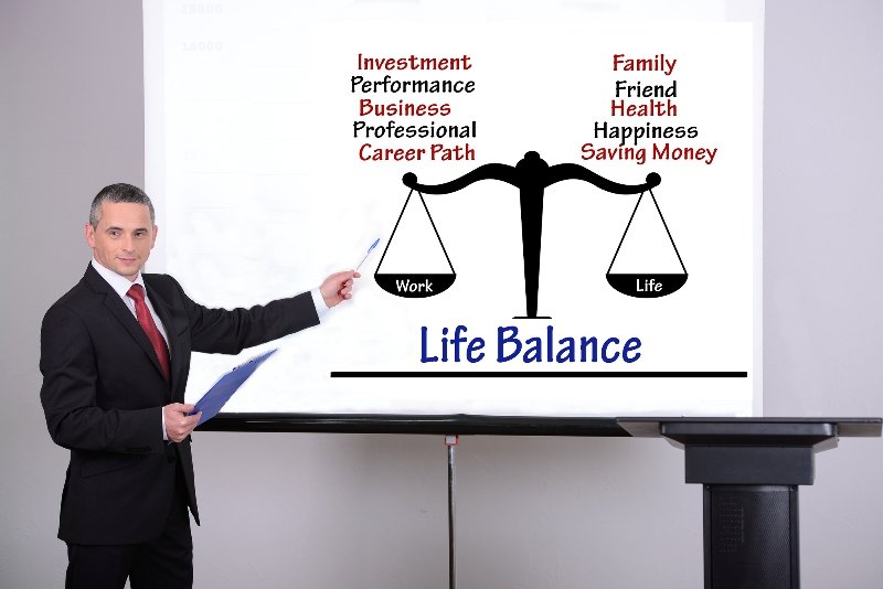 Young businessman giving a presentation on living a balanced life