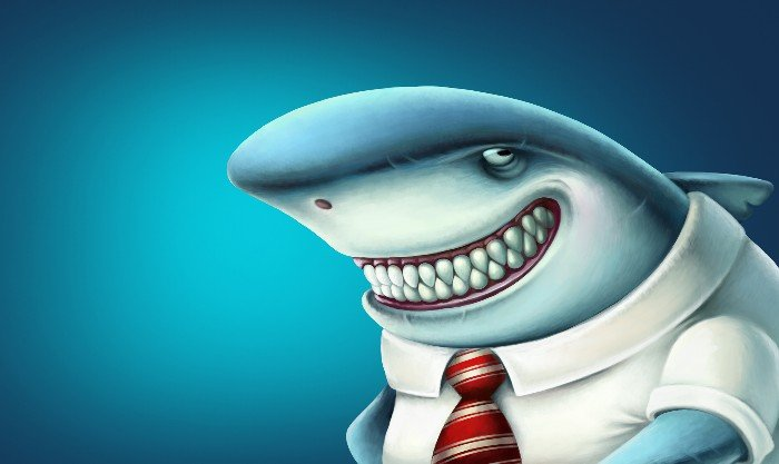 Shark dressed in business suit